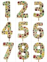"MULTI-COLOR PAW Design Birthday NUMBER Cake Topper 5.5"" Tall Choose Number"