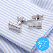 Men's Elegant Silver Stainless Steel Geometry CZ Crystal Rectangle Cufflinks