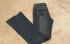 Womens Nine Planet Flare Blue Jeans w/ Front Leg Zippers Size 7
