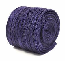 plain purple knitted tie with cable knit design by Frederick Thomas FT2217