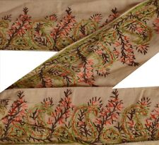 Vintage Suzani Sari Border Antique Hand Embroidered 1 YD Trim Sewing Cream Lace