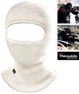 Thermo Sturmhaube Weiß Thinsulate SAS Stil Armee Ski Gestrickt Face Maske Schal