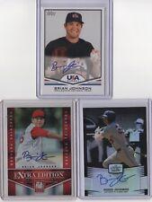 BRIAN JOHNSON 2011-2012 Topps USA Baseball - Leaf - Elite (3) Card AUTO LOT