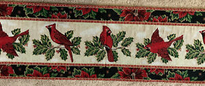 """Cardinals Christmas Tapestry Table Runner 13"""" x 72"""" St. Nicholas Square"""