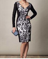 STELLA MCCARTNEY BLACK WHITE FLORAL HENRIETTA PANELED ILLUSION COCKTAIL DRESS 40