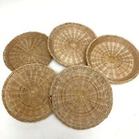 ✅❤️✅@ 5 Vintage Wicker Rattan Paper Plate Holders Chargers Picnic Kitchen Weaved