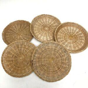 5 Vintage Wicker Rattan Paper Plate Holders Chargers Picnic Kitchen Weaved EUC