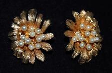 Vintage Hattie Carnegie Faux Pearl Gold Tone Flower Clip Earrings