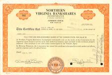 Northern Virginia Bankshares > 1973 bank stock certificate share scripophily