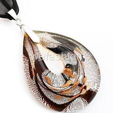 Silver Black Teardrop Handmade Lampwork Murano Glass Bead Pendant Necklace Cord.