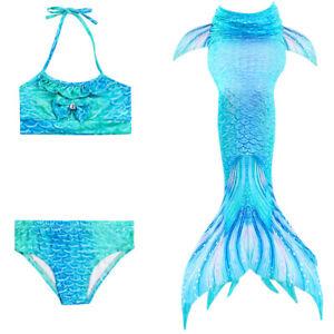 Kids Girls Swimsuit Swimmable Mermaid Tail Swimming Tropical 3pcs Bikini Sets
