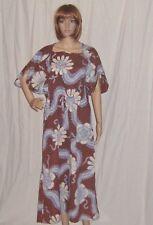 Vintage  Batik India Hippie Dress Caftan by Keris Draw String Waist Easy Fit Lrg