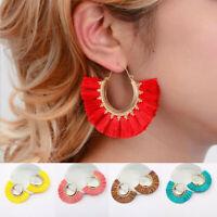 Fashion Women Fan Shape Tassel Fringe Ear Stud Dangle Drop Earrings Jewelry