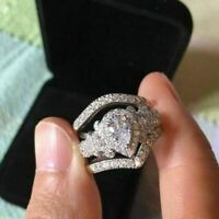 REAL 14k White Gold 2 Ct Pear Cut Diamond Wedding Bridal Engagement Ring Sets