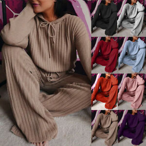 Women's Knit Long Sleeve Loose Hooded Casual Suit Outfits Solid Two Piece Set