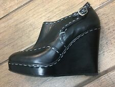 Lorelei Barney'sNY Black Leather Wedge Bootie Shoes Sz EU 38.5 US 8.5  Fit Sz 8