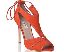 L.K. Bennett Giselle Sandals UK 5 38 Suede Heels Burnt Red Orange Nicole Kidman