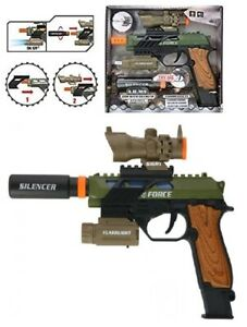 Kids Army Soldier Pretend Play Pistol Toy Gun With Motion and Sound Effects