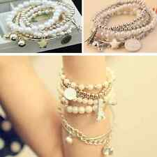 Fashion Womens Multilayer Gold Metal Pearl Beads Pendant Chain Bracelet 6pcs/set