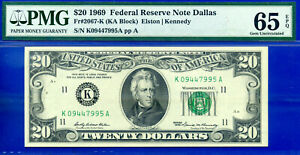 Near TOP POP - 1969 $20 FRN (( Rare - Dallas )) PMG 65EPQ # K09447995A