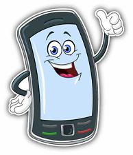 "Smart Phone Funny Cartoon Car Bumper Sticker Decal 4"" x 5"""