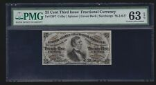 Us 25¢ Fractional Currency Note Fiber Paper Fr 1297 Pmg 63 Epq Ch Cu