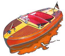 Chris Craft Riviera powerboat canvas art print by Richard Browne Chris-Craft
