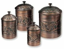 Set of 4 Embossed Metal Canister Kitchen Food Storage Display Antique Brown New