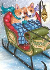 ACEO art print Dog 49 Corgi winter sleigh from original painting L.Dumas