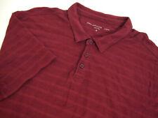 John Varvatos Mens Golf Polo Shirt XL Collared Short Sleeve Burgundy Red Striped