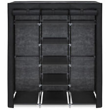 Black 9 Shelf Portable Closet System Fabric Cover Adjustable Clothes Rods Rack