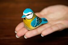 Blue Jay - Miniature Hand-Painted Wooden Bird Vintage Art Decoy Carved Figurine