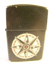 Nice Zippo Black Nautical Compass Lighter Sparking Well