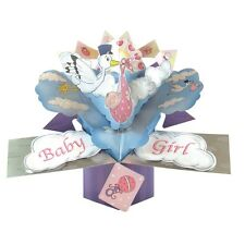 New Baby Girl Pop-Up Greeting Card Original Second Nature 3D Pop Up Cards