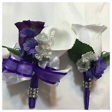 Purple Calla Lily Wedding Pin On Corsage And Boutonnière