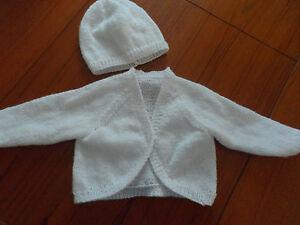 "hand knitted baby girl bolero cardigan and hat premature 12"""