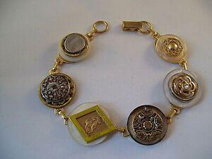 Vintage Stacked Button Bracelet Delaware Turf Club Horse & Jockey Hand Made OOAK