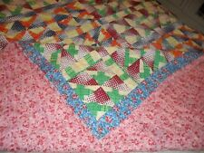 """LOVELY VINTAGE REVERSIBLE QUILT ONE SIDE PRETTIER THAN THE NEXT, 72"""" X 84"""""""