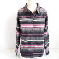 Cabelas Button Up Shirt Womens M Long Sleeve Striped Multicolor Thick Cotton