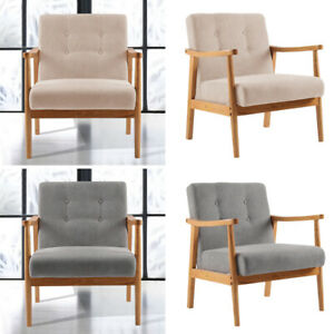 Nordic Single Cafe Seat Chair Fabric Wood Accent Armchair Seat Sofa BedroomChair