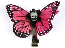 Hairy Scary Pink Small Kahlovera Skull Butterfly Feather Hair Clip