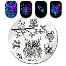 BORN PRETTY Round  Nail Art Stamping Plates Cute Owl Series Feather Manicure DIY