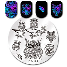 Born Pretty Nail Art Stamping Plates Cute Owl Series Feather Image Template DIY