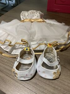 Build a Bear clothes - White Gold dress and matching shoes -