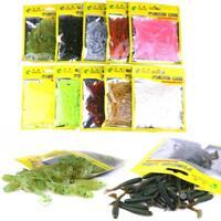 50 Pcs 5cm/0.7g Soft Plastic Fishing Lures Single Curl Tail Grub Worm Bait BREAM