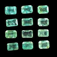 12 Pcs Natural Colombian Emerald 5.5mm-6mm Octagon Cut Sparkling Gemstones Lot