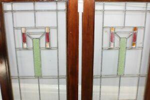 Antique Mission Bungalow Stain Glass Window Pair Arts & Crafts c. 1920 Stickley