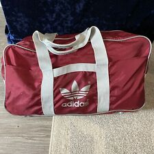 Vintage 1980's Adidas Big Logo Maroon Red Gym Travel VTG Duffel Bag Bronx Hiphop