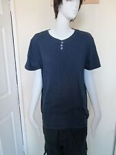 RED HERRING - BLUE 3 BUTTON T-SHIRT SIZE L 100% COTTON
