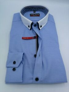 Marvelis Langarm Hemd Doppelkragen Gr. M 40 BODY FIT Blau Muster Art. 75404411